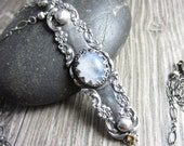 The Keyhole Necklace - Moonstone and Yellow Sapphire in Sterling Silver