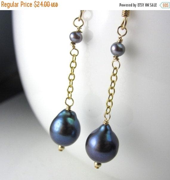 SALE Pear Pearl Earrings in 14k Gold Fill