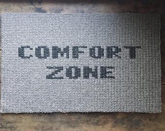 "Crocheted rug 100% natural wool 37""x23"", entry mat, ""Comfort Zone"" rug, rectangular carpet, latex backing"
