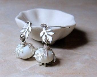 Snow White - Beautiful Shimmer White Lampwork Silver Leaf Earrings