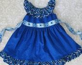 Girls Dress Pattern PDF Pattern with Ruffle Neck and Sash - Peasant Dress Pattern for Girls