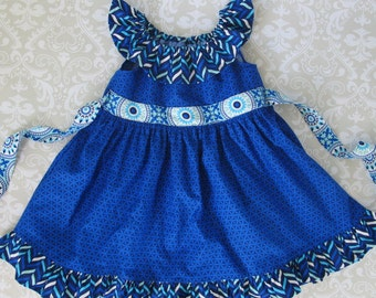 Girls Dress Pattern PDF Pattern with Ruffle Neck and Sash - Peasant Dress Pattern for Girls