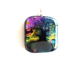 Tree of Life At Sunset Dichroic Glass Pendant