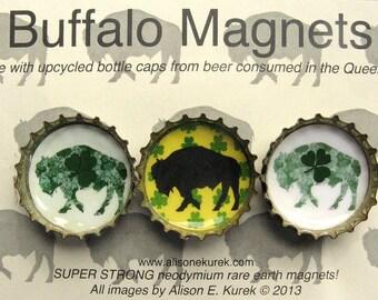St Patricks Day Buffalo Magnets - Irish Shamrock - Buffalo Bottle Cap Magnets - Packaged Gift Set of 3 - Buffalo NY - Buffalo Gift
