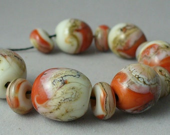 Handmade Lampwork Glass Beads by Catalinaglass SRA Coral and Ivory