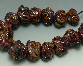 Lampwork beads/glass beads/beads/multicolor/nuggets/handmade lampwork/sra lampwork/artisan lampwork/burgundy/maroon/