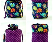 Drawstring Project Bag, Michael Miller Elephant Romp in Midnight