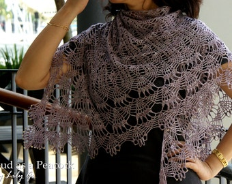 READY MADE Mauve Hand Crocheted Lace Shawl With Glass Beads
