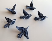 Tiny LOVE Birds - Upcycle, Recycle, Repurposed, Denim Birds, Instant Download Pattern pdf - Birds are made with denim pants (blue jeans).