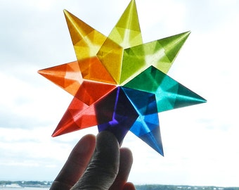 DIY Star Kits, 8 Pointed Stars, 16 Pointed Stars, Kite Paper Banner, Folded Rainbow Stars. Makes Great Birthday Card/Gift