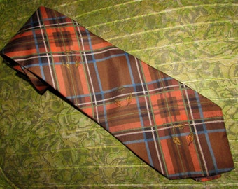 Vintage Collectible Roos Atkins Silk Tie for Kipper, Necktie, Brown Orange Blue Plaid with Swirling Leaves, 70s, neckwear, mens accessory