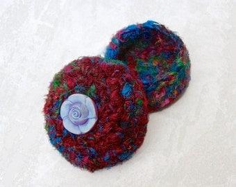 Multicolor Basket with Glass Rose Embellished Lid - Unique Handmade Deep Red Silk Tapestry Art Basket - Flower Inspired Gift for Her STB025
