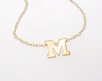 Gold Initial Necklace - Personalized Necklace 14K SOLID GOLD Ultra Feminine Initial Monogram