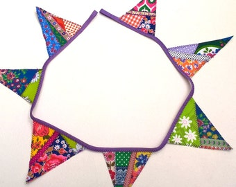 Cute Crazy Patchwork Bunting with Retro Vintage Fabrics