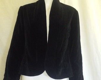 SALE Black velvet cover up jacket, 70s 80s Vintage