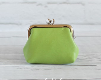 Clasp Leather Coin Purse Earbud Holder Case Apple Green