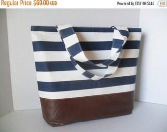 SALE Blue Stripe Tote Diaper Bag - Diaper Bag - Stripe Bag - Laptop Bag - Extra Large Diaper Bag -  Beach Bag - Washable - Vegan Leather