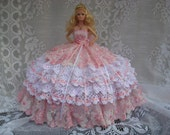 """OOAK Pink and White Hand Crocheted Barbie """"Princess"""" Bed Pillow Doll  with Lace and Swarovski Crystals"""