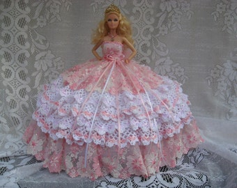 "OOAK Pink and White Hand Crocheted Barbie ""Princess"" Bed Pillow Doll  with Lace and Swarovski Crystals"