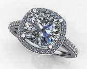 Private Listing for Teri - anya ring - 2.5 carat NEO moissanite cushion cut engagement ring, payment 1 of 2