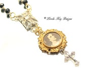 Jesus Cross Assemblage Necklace Christian Pendant One-of-a-Kind Rhinestones Brass Young Jesus Image