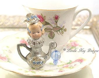 Jessica Teapot Art Doll  Original Art Doll Assemblage Tiny Teapot Mixed Media Doll Sculpture