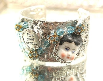 Live Your Dream Doll Bracelet Soldered Cuff China Doll Head Rhinestones Wearable Doll Face Statement Bracelet