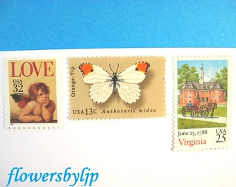 Virginia Love Wedding Stamps, Butterfly, Williamsburg Scene, Cherub, Postage Stamps to Mail 20 Wedding Invitations, 2 oz 68 cents postage