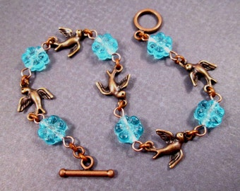 Copper Bracelet, Blue Blossoms and Birds, Chain Link Bracelet, FREE Shipping U.S.