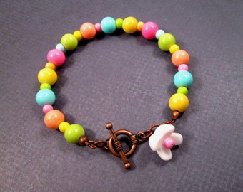 Bright Beaded Bracelet, Flower Charm, Neon Glass and Copper Beaded Bracelet, FREE Shipping U.S.