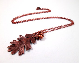 Pendant Necklace, Acorn and Oak Leaf Necklace, Copper Charm Necklace, FREE Shipping U.S.