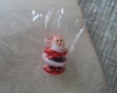 SALE Teeny Tiny Santa Christmas miniature vintage plastic craft ornament original package Hong Kong