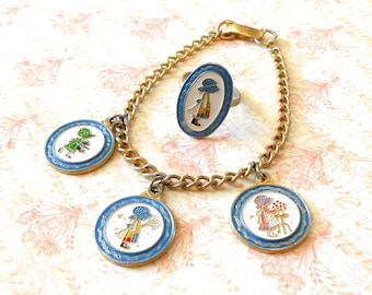 Vintage Holly Hobbie Charm Bracelet & Adjustable Ring - Little Girls, Holly Hobby, American Greetings Corp, AGC, Blue Bonnet, Little House