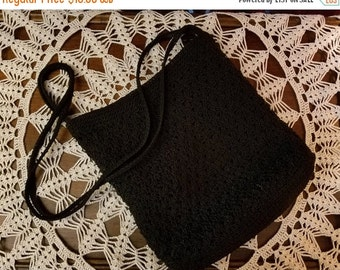 ON SALE Black Woven Handbag Hippie Gypsy Bohemian Grunge