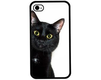 Phone Case - Black Cat Peeking Around the Corner - Hard Case for iPhone 4, 4s, 5, 5s, 5c, 6, 6 Plus - iPod Touch 4, 5 - Galaxy S3, S4, S5