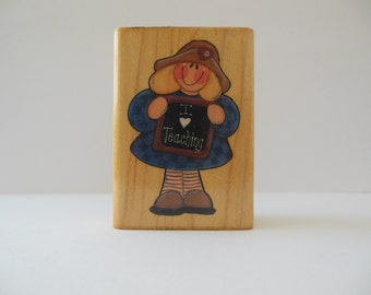 Teacher Rubber Stamp - I Love Teaching - Wood Mounted Rubber Stamp