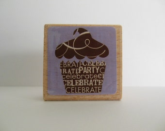 Cupcake Rubber Stamp - Wood Mounted Rubber Stamp - Birthday Party Stamp
