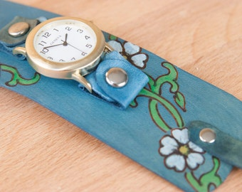 Cuff Watch - Leather Wide Cuff Watch with Flowers - Handmade in the Willow pattern with flowers and vines - Blue, white and green