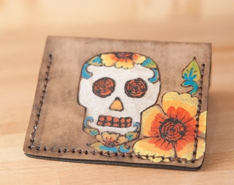 Small Credit Card Wallet - Vesa Pattern Front Pocket Wallet with Sugar Skull and Flowers - Day of the dead