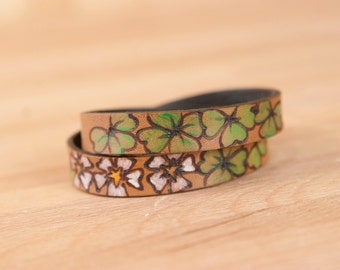 Leather Wrap Bracelet for Women - Double wrap skinny cuff in the Lucky pattern with Shamrocks - Green, white and antique black
