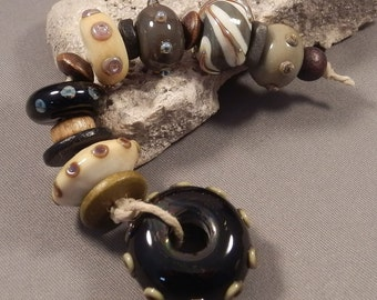 Handmade Lampwork Beads by Monaslampwork - Neutral Organics - Large Hole Bead Focal with rounds, ceramic and wood spacers by Mona Sullivan