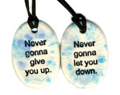 Best Friend Ceramic Necklace Set in Blue  Crackle