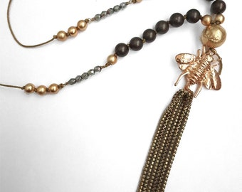 One of a kind  style tassel necklace with gold bee charm. Brass, vintage, cord, olive, long, pendent, pendant, antique Czceh beads
