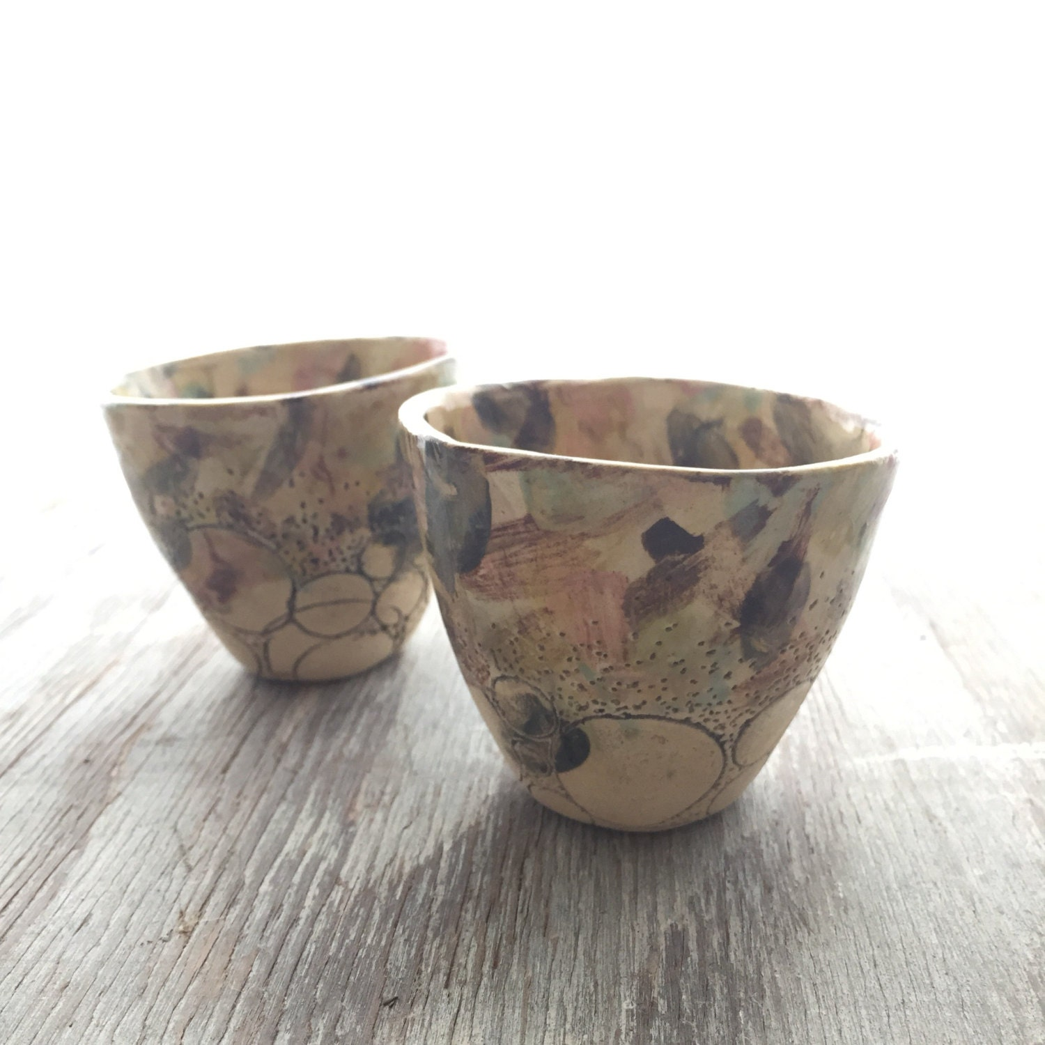 Small Ivory Landscape Circle Cups