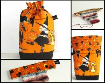 Drawstring Bag Knitting Project Padded Pouch - Witch, and Optional Needle Keeper