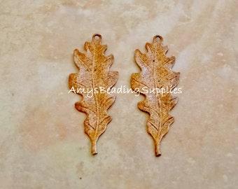 SALE:  2 Vintaj Artisan COPPER Taliesin Leaf 39.5x15mm (CP0003)