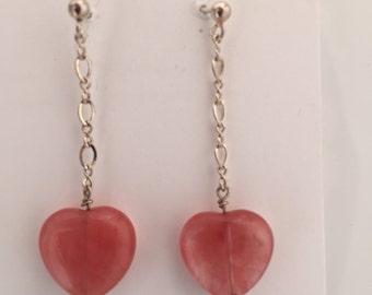 Heart cherry quartz earrings