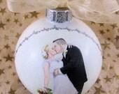 Custom Wedding Portrait Glass Ornament