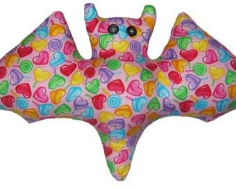 Pink Valentine Candy Heart Suckers Bat Pillow