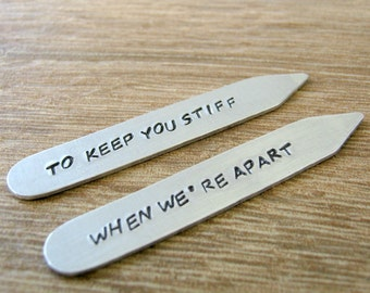 Personalized Collar Stays, To Keep You Stiff When We're Apart, boyfriend gift, gifts for him, gay men's gift, gay couple, lgbt boyfriend